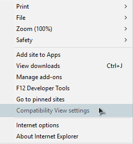 IE 11 Tool Menu - Compatibility View Settings