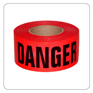 "Mutual 3"" X 1000' Red DANGER/PELIGRO 2mil Barricade Tape"
