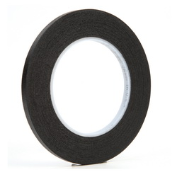 3M™ 021200-02837 235 Photographic Tape, 60 yd L x 1/4 in W, 7 mil THK, Rubber Adhesive, Crepe Paper Backing, Black