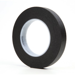 3M™ 021200-02839 235 Photographic Tape, 60 yd L x 3/4 in W, 7 mil THK, Rubber Adhesive, Crepe Paper Backing, Black
