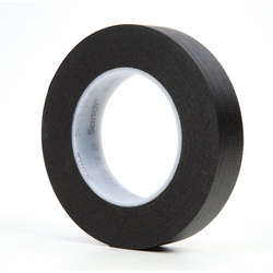 3M™ 021200-02840 235 Photographic Tape, 60 yd L x 1 in W, 7 mil THK, Rubber Adhesive, Crepe Paper Backing, Black