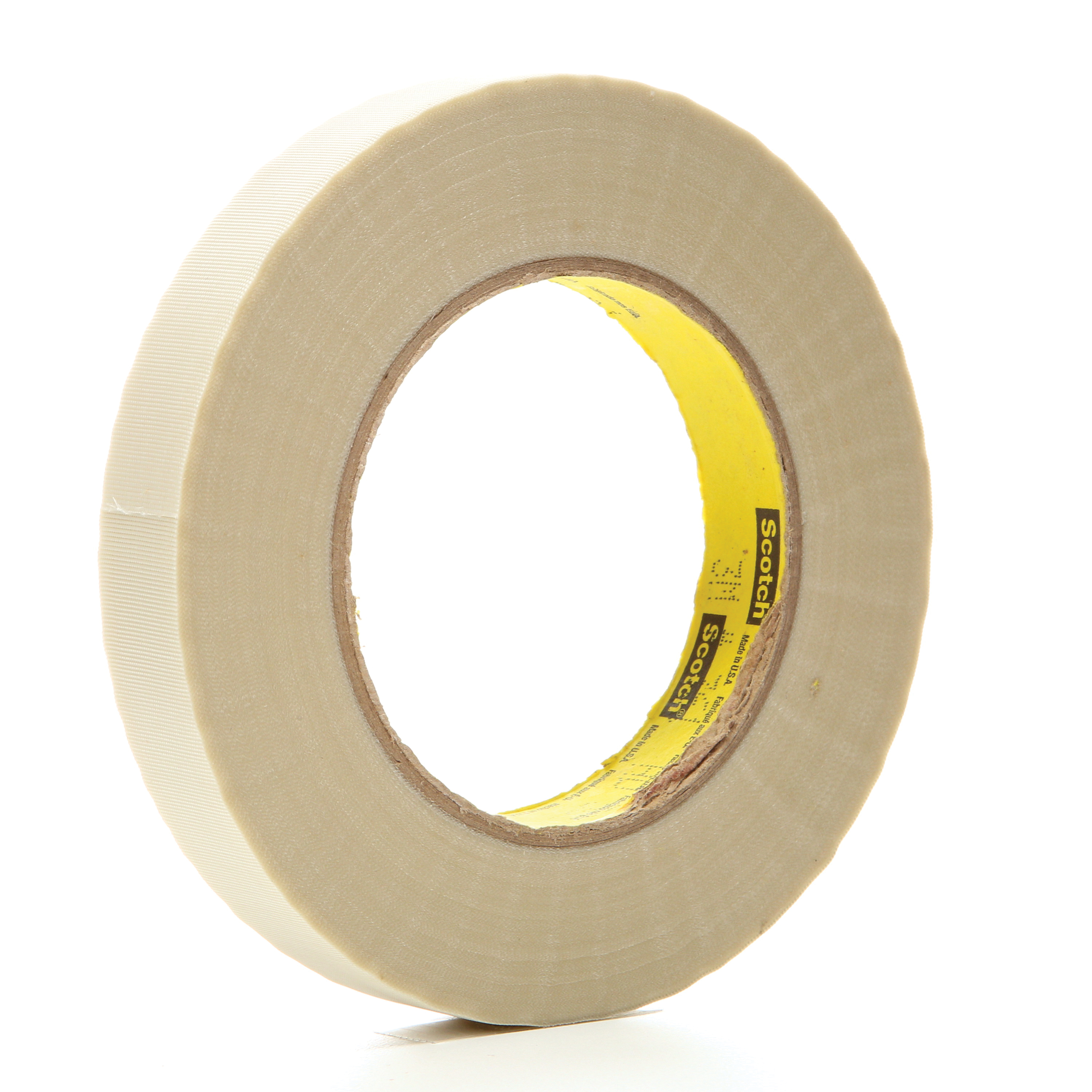 3M™ 021200-03016 Cloth Tape, 60 yd L x 3/4 in W, 6.4 mil THK, Silicon Adhesive, Glass Cloth Backing, White