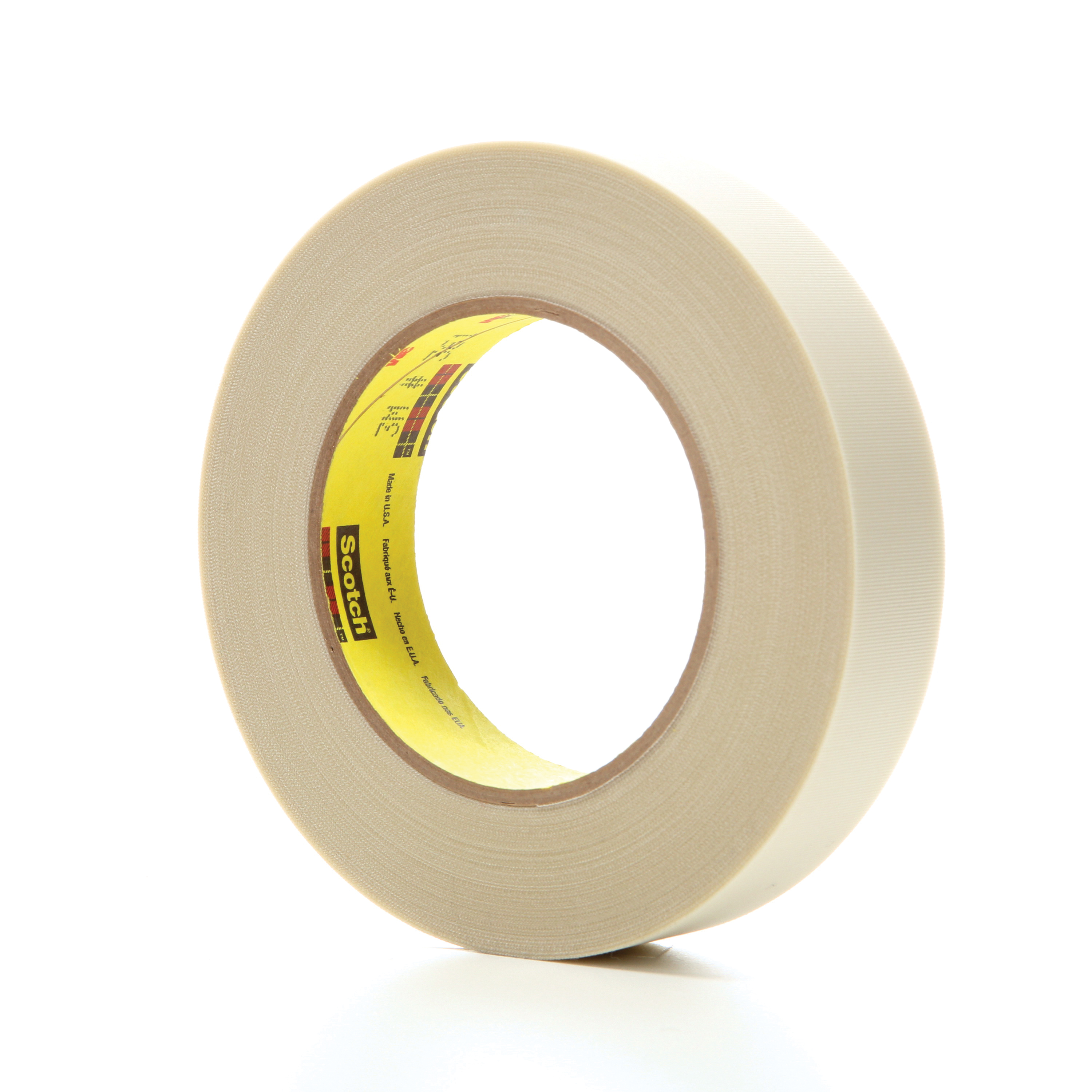 3M™ 021200-03017 Cloth Tape, 60 yd L x 1 in W, 6.4 mil THK, Silicone Adhesive, Glass Cloth Backing, White
