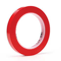 3M™ 021200-03105 471 High Performance Vinyl Tape, 36 yd L x 1/2 in W, 5.2 mil THK, Rubber Adhesive, Vinyl Backing, Red