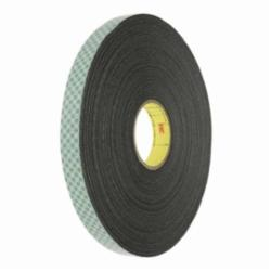 3M™ 021200-03277 Double Coated Tape, 36 yd L x 1/4 in W, 1/16 in THK, Acrylic Adhesive, PVC Foam Backing, Black