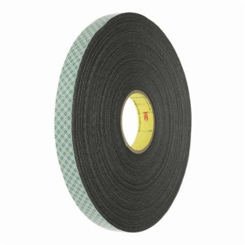 3M™ 021200-03298 Double Coated Tape, 72 yd L x 1/4 in W, 1/32 in THK, Acrylic Adhesive, PVC Foam Backing, Black