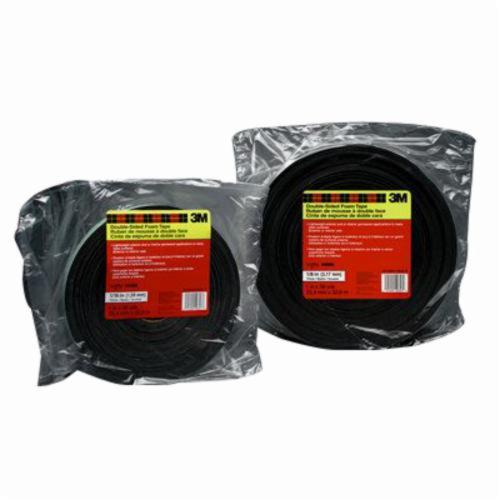 3M™ 021200-03281 Double Coated Foam Tape, 36 yd L x 1 in W, 62 mil THK, Acrylic Adhesive, PVC Foam Backing, Black