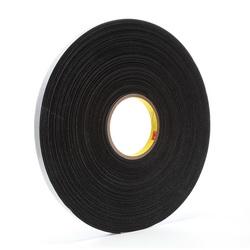 3M™ 021200-03307 4516 Single Coated Foam Tape, 36 yd L x 1/2 in W, 62 mil THK, Acrylic Adhesive, Vinyl Foam Backing, Black