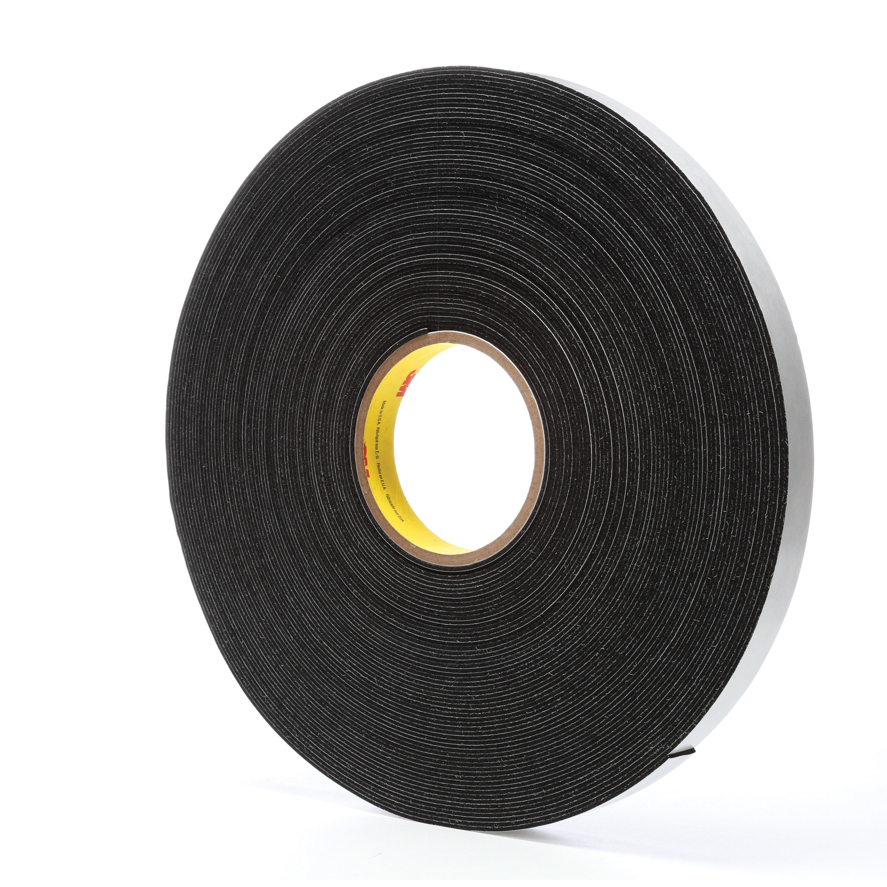 3M™ 021200-03308 Single Coated Foam Tape, 36 yd L x 3/4 in W, 62 mil THK, Acrylic Adhesive, Vinyl Foam Backing, Black