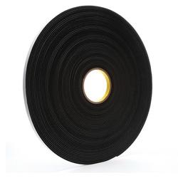3M™ 021200-03312 4508 Single Coated Foam Tape, 36 yd L x 1/2 in W, 125 mil THK, Acrylic Adhesive, Vinyl Foam Backing, Black