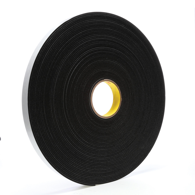 3M™ 021200-03314 Single Coated Foam Tape, 36 yd L x 1 in W, 125 mil THK, Acrylic Adhesive, Vinyl Foam Backing, Black