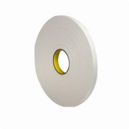 3M™ 021200-03404 Single Coated Foam Tape, 36 yd L x 1/4 in W, 125 mil THK, Acrylic Adhesive, Urethane Foam Backing, Natural