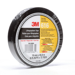 3M™ 021200-03469 1-Sided Lithographers Tape, 72 yd L x 1/4 in W, 2.4 mil THK, Rubber Adhesive, 1.6 mil UPVC Backing, Ruby Red