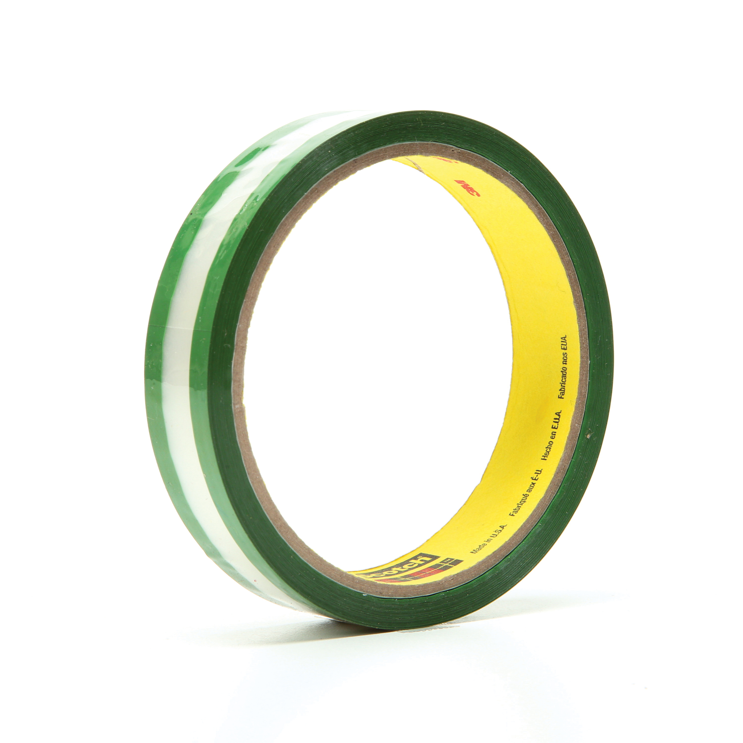 3M™ 021200-03507 Riveters Film Tape, 36 yd L x 3/4 in W, 1.7 mil THK, Rubber Adhesive, Transparent Polyester Backing, Green