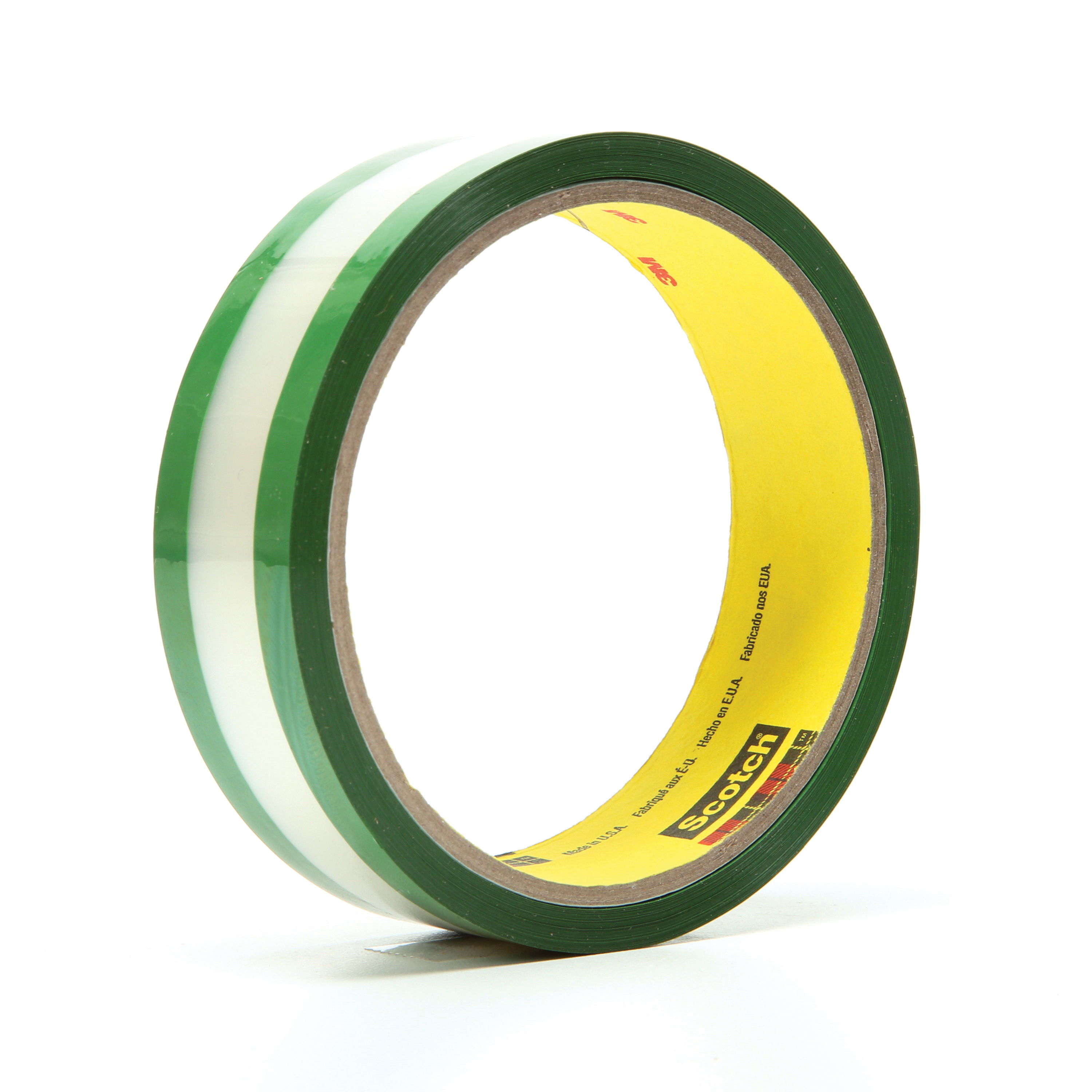 3M™ 021200-03508 Riveters Film Tape, 36 yd L x 1 in W, 1.7 mil THK, Rubber Adhesive, Transparent Polyester Backing, Green
