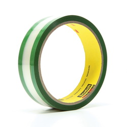 3M™ 021200-03508 685 Riveters Film Tape, 36 yd L x 1 in W, 1.7 mil THK, Rubber Adhesive, 1 mil Transparent Polyester Backing, Green