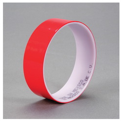 3M™ 021200-03573 850 Film Tape, 72 yd L x 1 in W, 1.9 mil THK, Acrylic Adhesive, 0.9 mil Polyester Backing, Red
