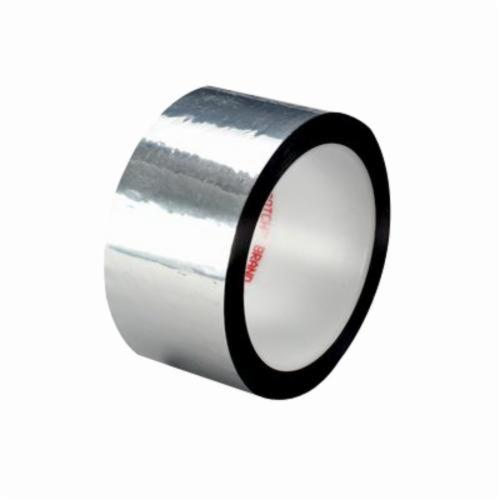 3M™ 021200-07398 Film Tape, 72 yd L x 1/4 in W, 1.9 mil THK, Acrylic Adhesive, 0.9 mil Polyester Backing, Silver