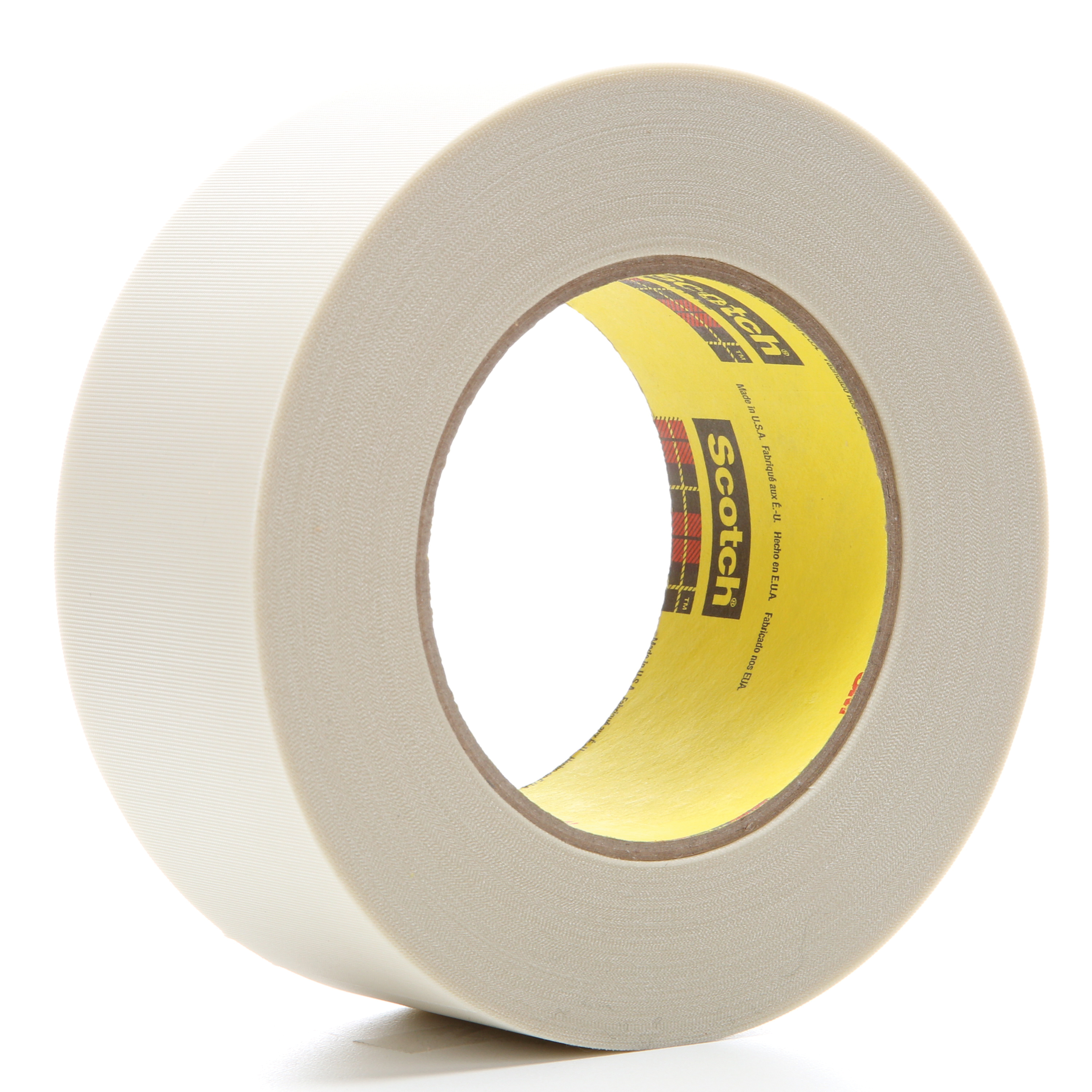 3M™ 021200-04275 Cloth Tape, 60 yd L x 2 in W, 6.4 mil THK, Silicon Adhesive, Glass Cloth Backing, White