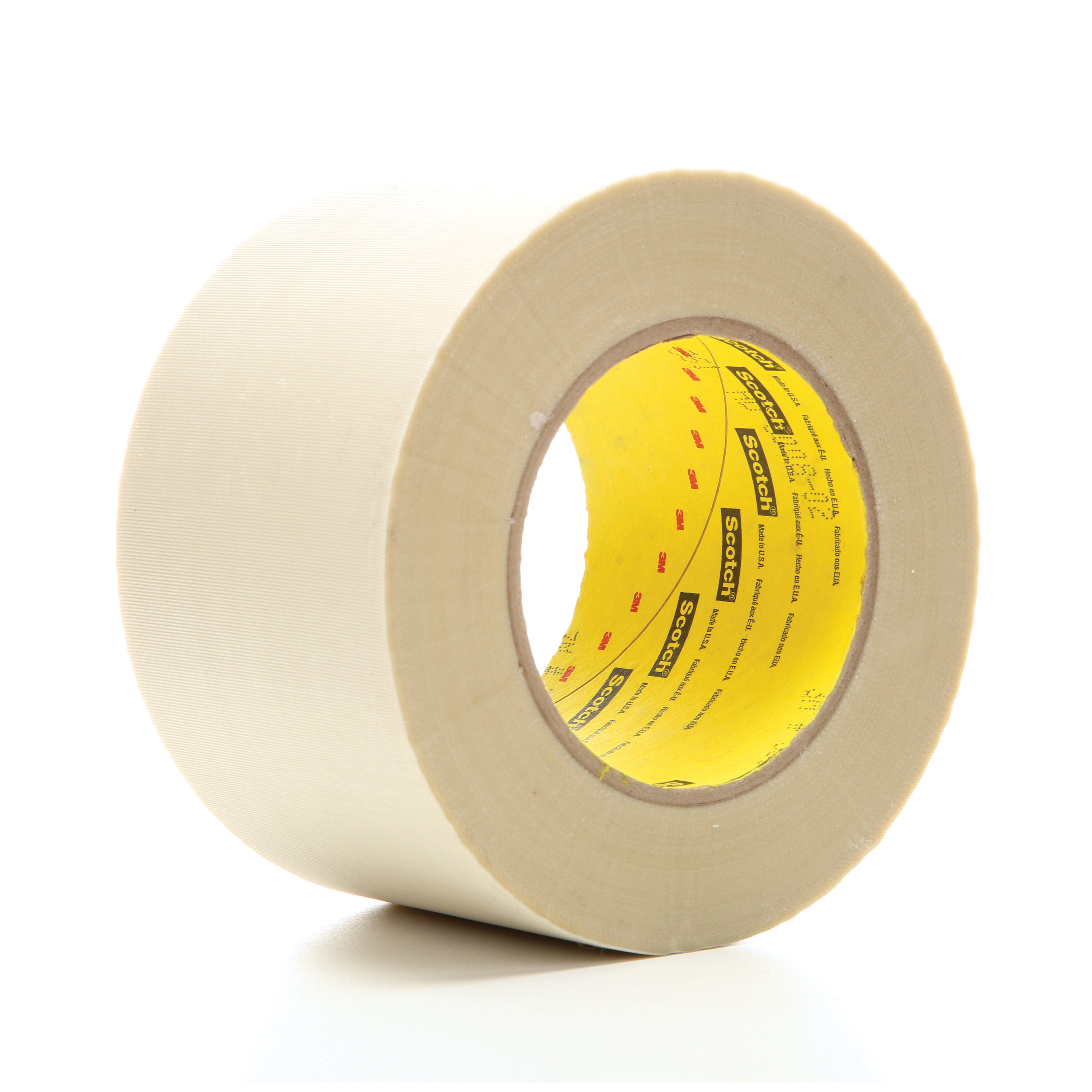 3M™ 021200-04994 Cloth Tape, 60 yd L x 3 in W, 6.4 mil THK, Silicon Adhesive, Glass Cloth Backing, White