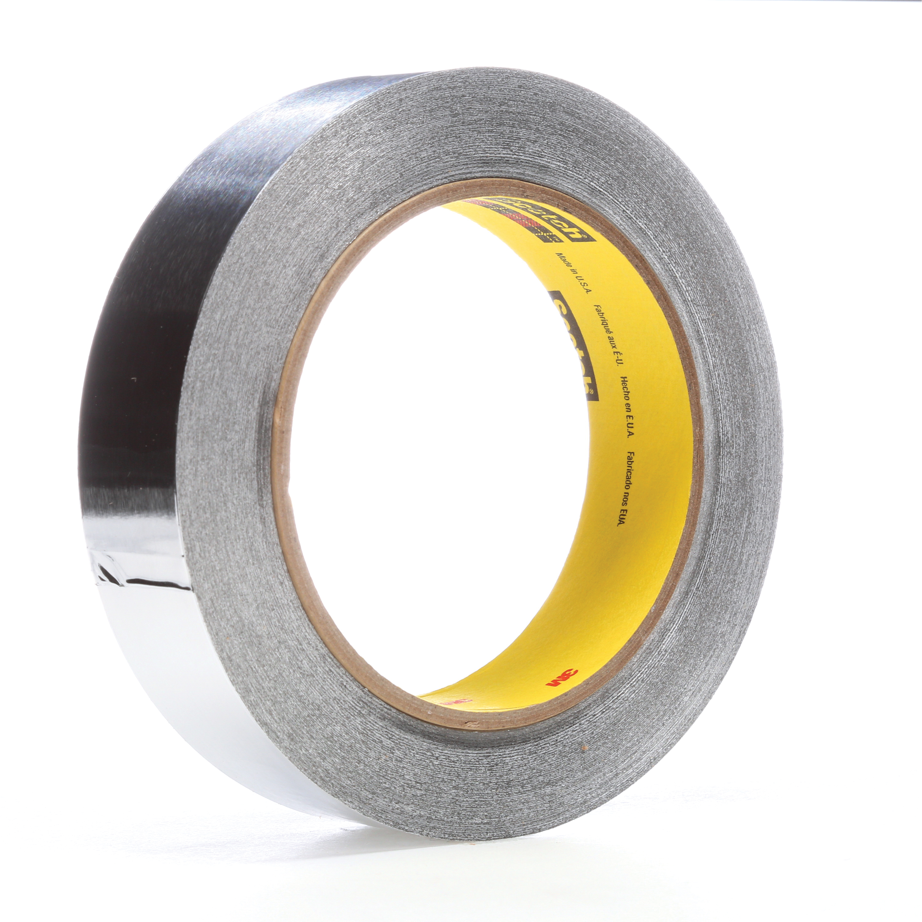 3M™ 021200-05674 Premium Performance Self-Wound Foil Tape, 60 yd L x 1 in W, 3.6 mil THK, Easy Release Film Liner, Silicon Adhesive, Aluminum Foil Backing, Silver