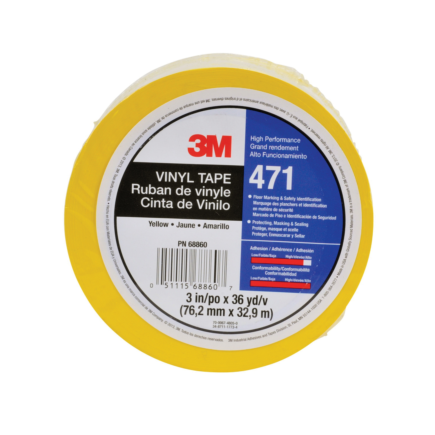 3M™ 021200-07182 High Performance Vinyl Tape, 36 yd L x 1-1/2 in W, 5.2 mil THK, Rubber Adhesive, Vinyl Backing, Yellow