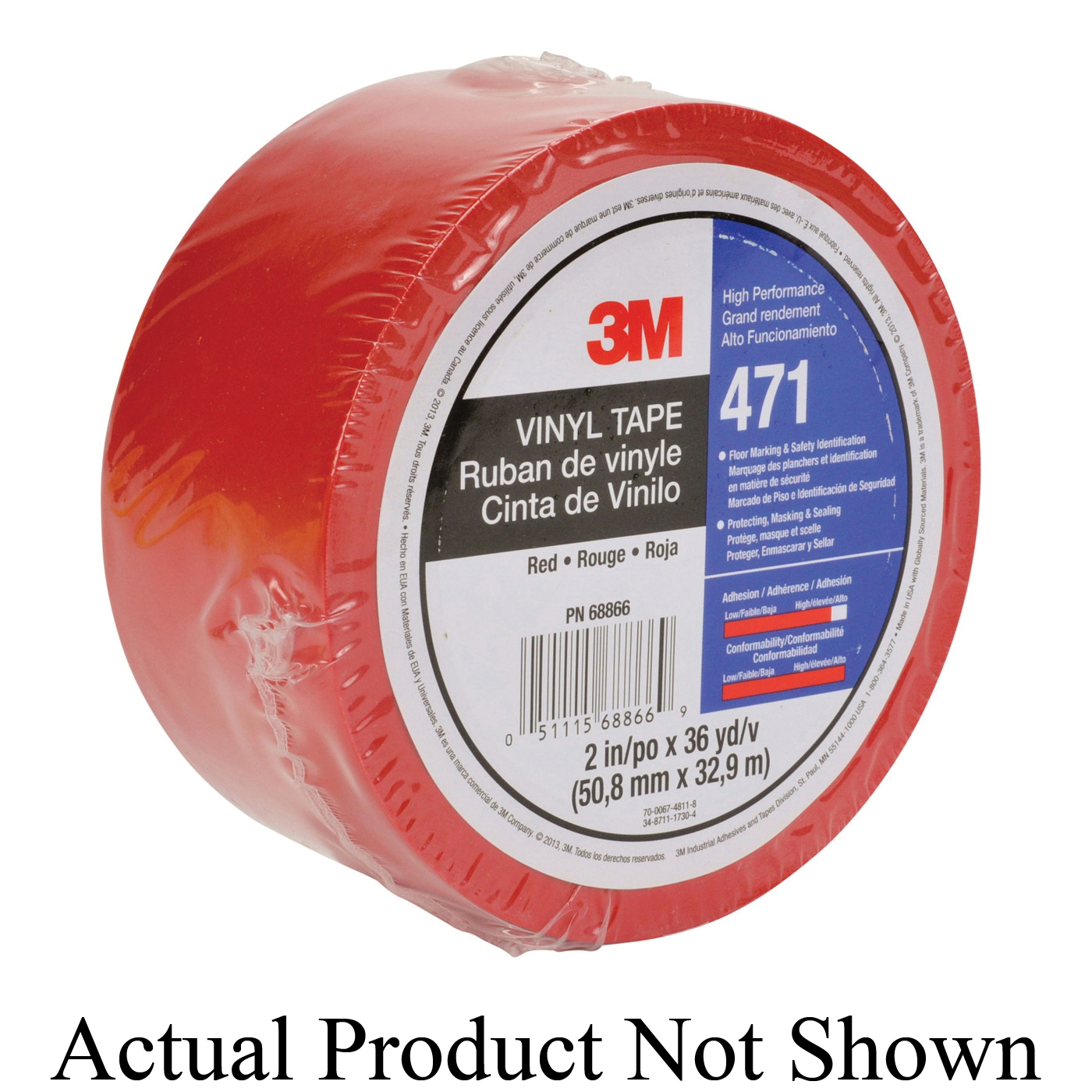 3M™ 021200-07206 High Performance Vinyl Tape, 36 yd L x 1/4 in W, 5.2 mil THK, Rubber Adhesive, Vinyl Backing, Red