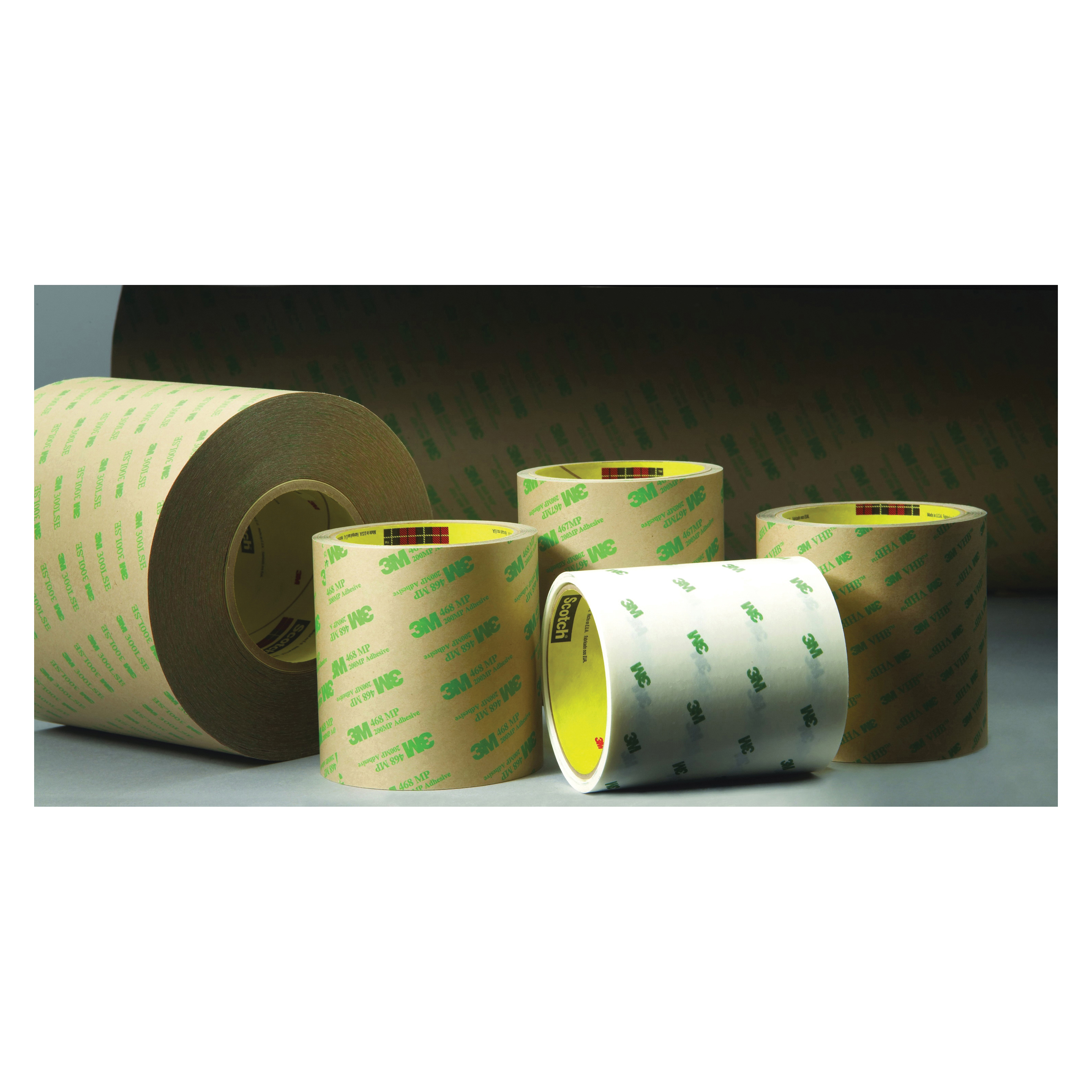 3M™ 021200-11709 966 Low Tack Adhesive Transfer Tape, 60 yd L x 1 in W, 6.1 mil THK, 2.3 mil 100 Acrylic Adhesive, Clear