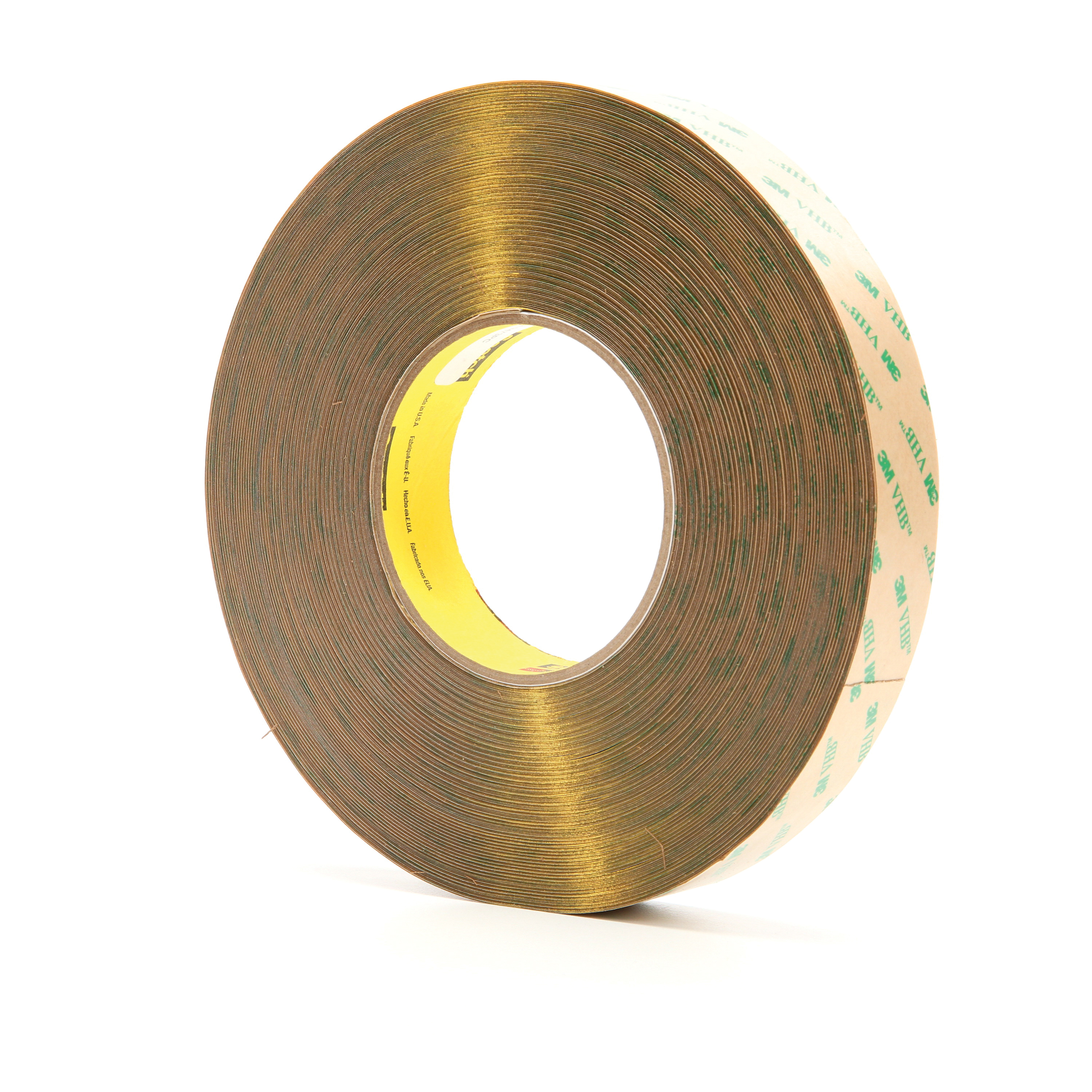 3M™ VHB™ 021200-13969 High Performance Low Tack Adhesive Transfer Tape, 60 yd L x 1 in W, 14.2 mil THK, 10 mil 100MP Acrylic Adhesive, Clear