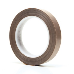 3M™ 021200-16151 Pressure Sensitive Glass Cloth Tape, 36 yd L x 3/4 in W, 5.6 mil THK, Silicone Adhesive, 3.2 mil Woven Glass Cloth Impregnated with PTFE Backing, Brown