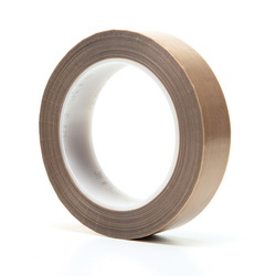 3M™ 021200-16152 Pressure Sensitive Glass Cloth Tape, 36 yd L x 1 in W, 5.6 mil THK, Silicone Adhesive, 3.2 mil Woven Glass Cloth Impregnated with PTFE Backing, Brown