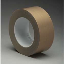 3M™ 021200-16158 Pressure Sensitive Glass Cloth Tape, 36 yd L x 1/2 in W, 8.2 mil THK, Silicone Adhesive, 6 mil Woven Glass Cloth Impregnated with PTFE Backing, Brown