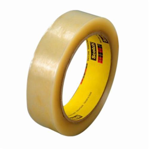 3M™ 021200-18526 Packaging Tape, 2592 in L x 3/8 in W, 2.3 mil THK, Pressure Sensitive Hot Melt Synthetic Rubber Resin Adhesive, Cellophane Backing, Clear