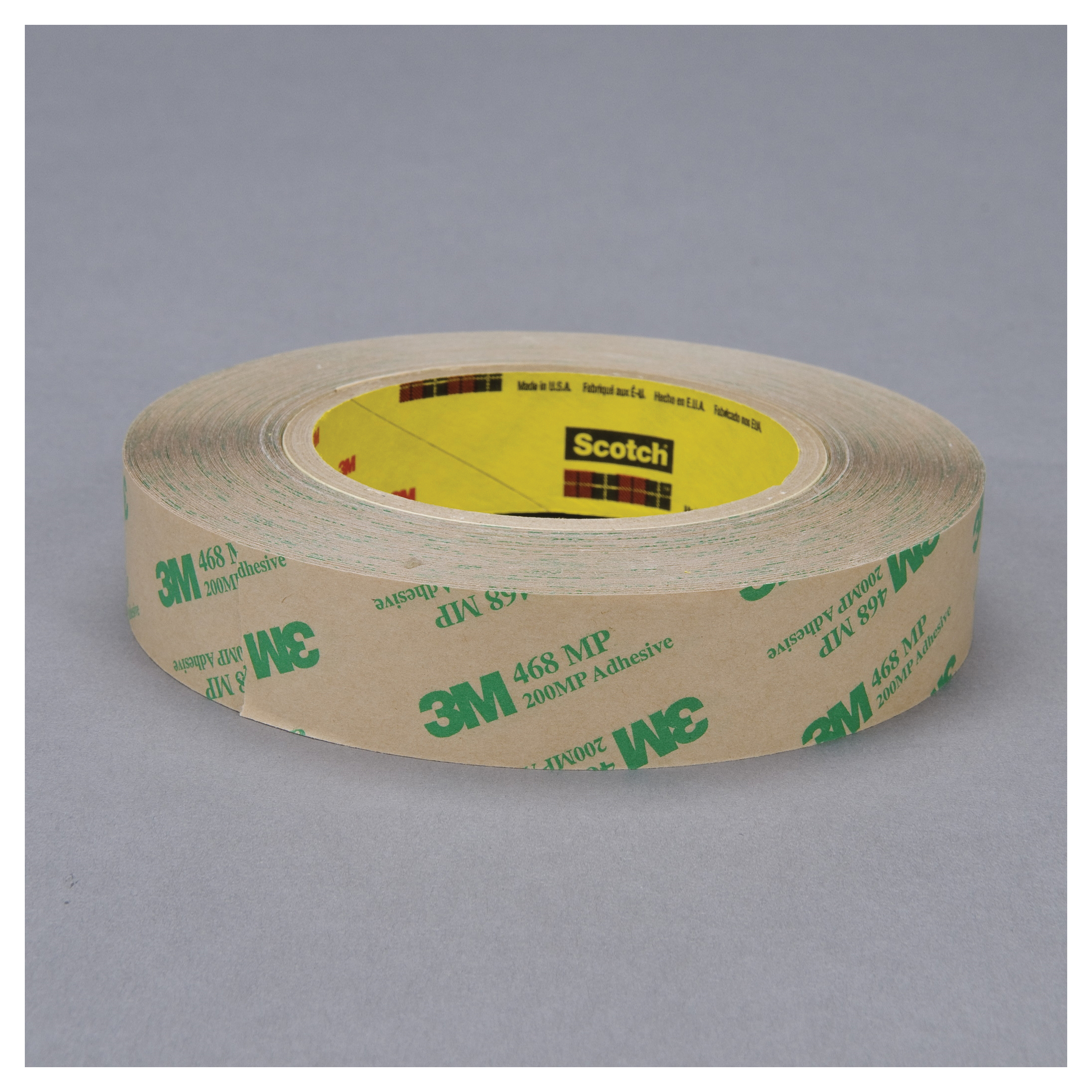 3M™ 021200-19337 High Performance Medium Tack Adhesive Transfer Tape, 60 yd L x 1 in W, 9.2 mil THK, 5 mil 200MP Acrylic Adhesive, Clear