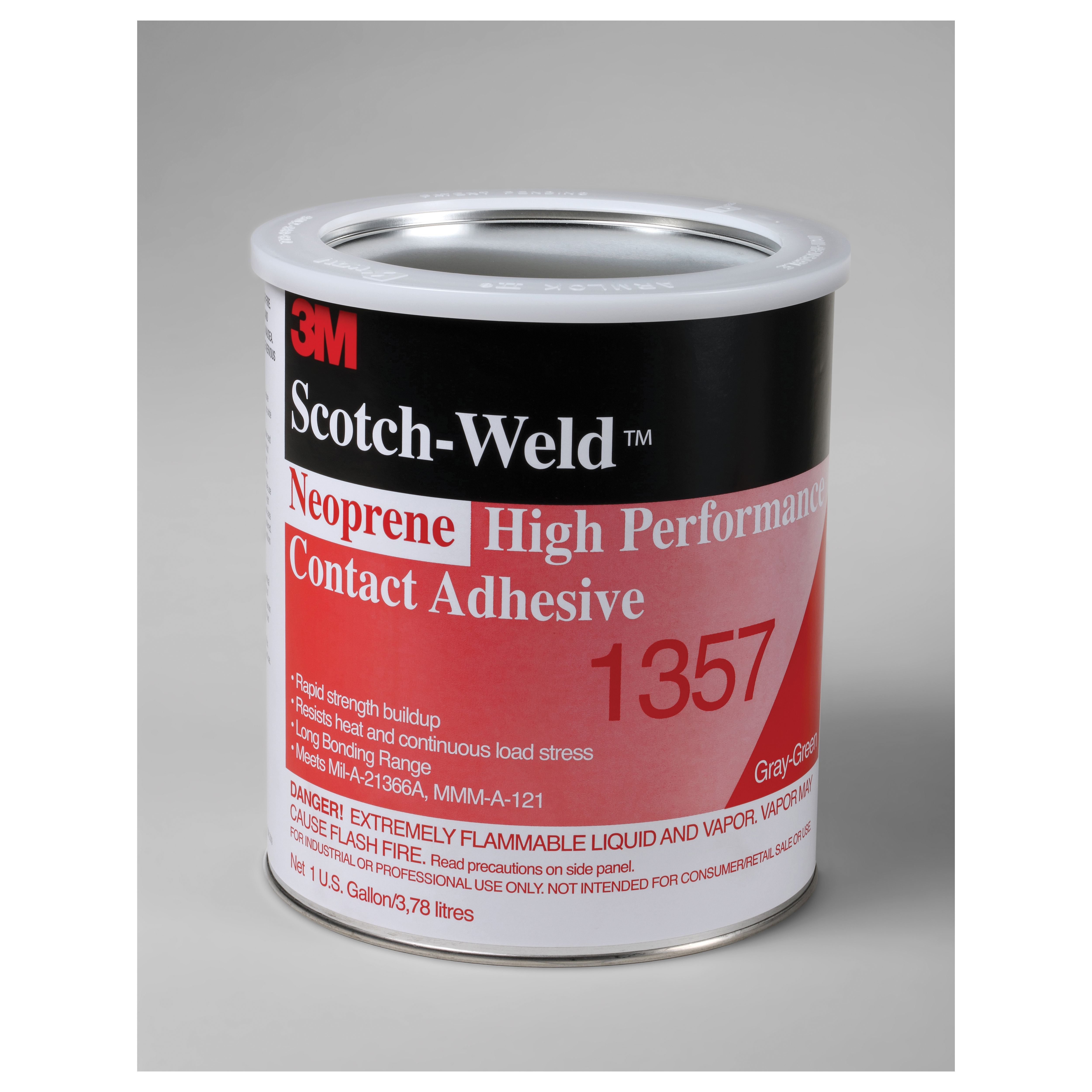 3M™ 1357-1quart Flammable High Performance High Strength Contact Adhesive, 1 qt Can, Gray/Green, Up to 30 min Curing