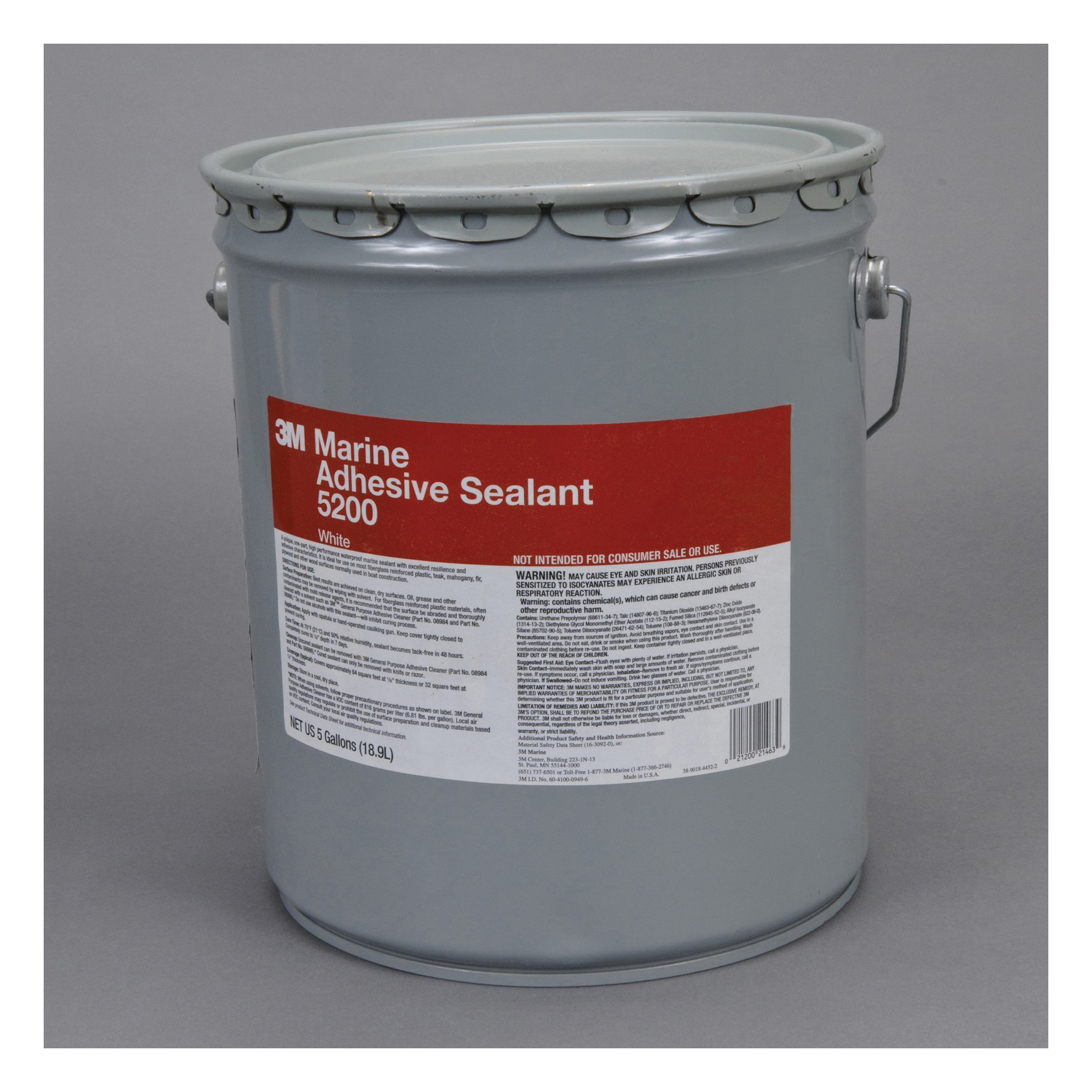 3M™ 021200-21463 Very High Strength Adhesive Sealant, 5 gal Pail, White, Polyurethane Base
