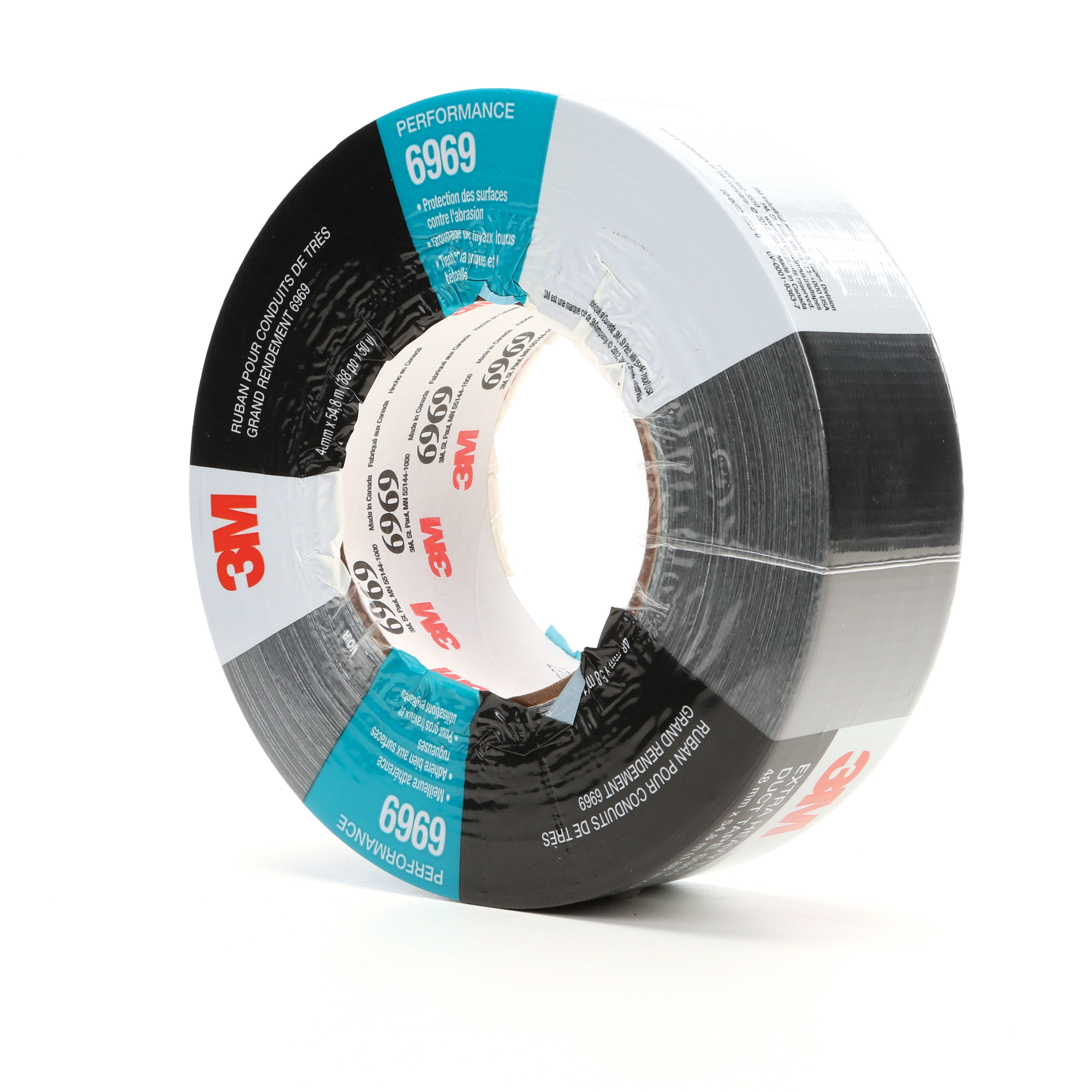 3M™ 021200-22773 Extra Heavy Duty Duct Tape, 54.8 m L x 48 mm W, 10.7 mil THK, Rubber Adhesive, Polyethylene Film Over Cloth Scrim Backing, Black