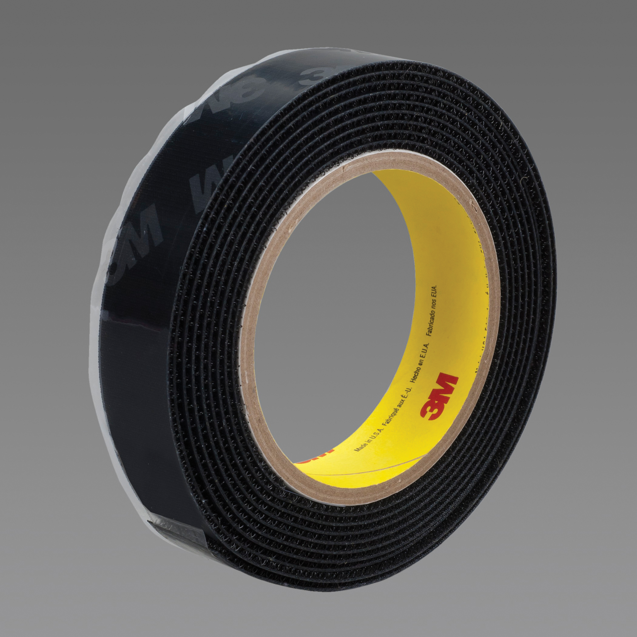 3M™ 021200-86257 Reclosable Hook Fastener Tape, 50 yd L x 5/8 in W, 0.15 in THK Engaged, Modified Rubber Adhesive, Woven Nylon Backing, Black