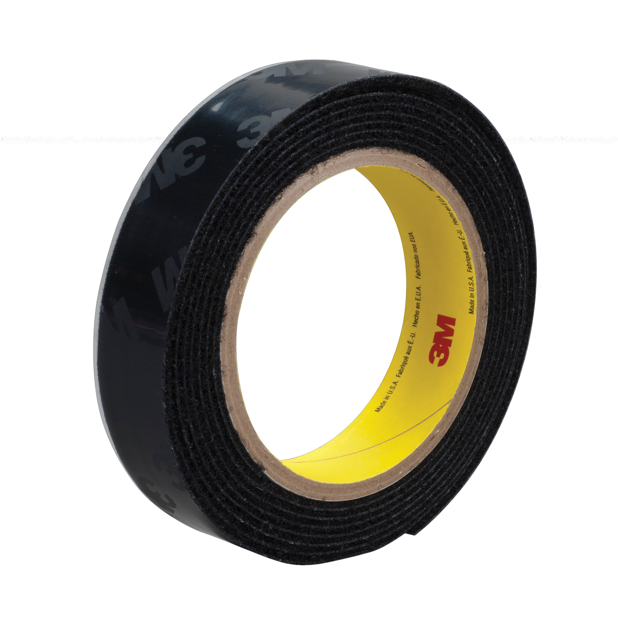 3M™ 021200-87361 Reclosable Loop Fastener Tape, 50 yd L x 3/4 in W, 0.15 in THK Engaged, Synthetic Rubber Adhesive, Woven Nylon Backing, Black