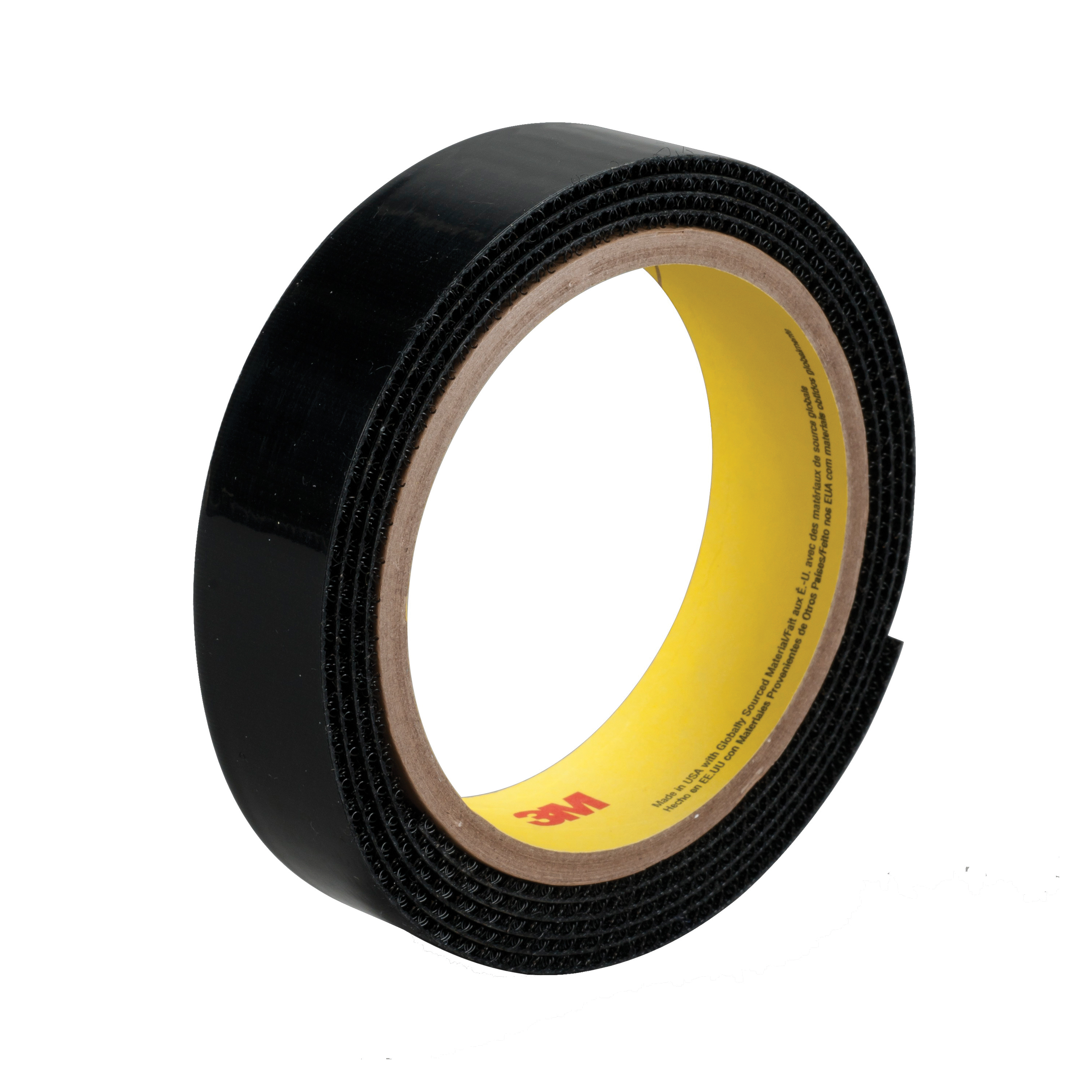 3M™ 021200-23180 Reclosable Hook Fastener Tape, 50 yd L x 1 in W, 0.15 in THK Engaged, Polyethylene Film Liner Adhesive, Woven Nylon Backing, Black