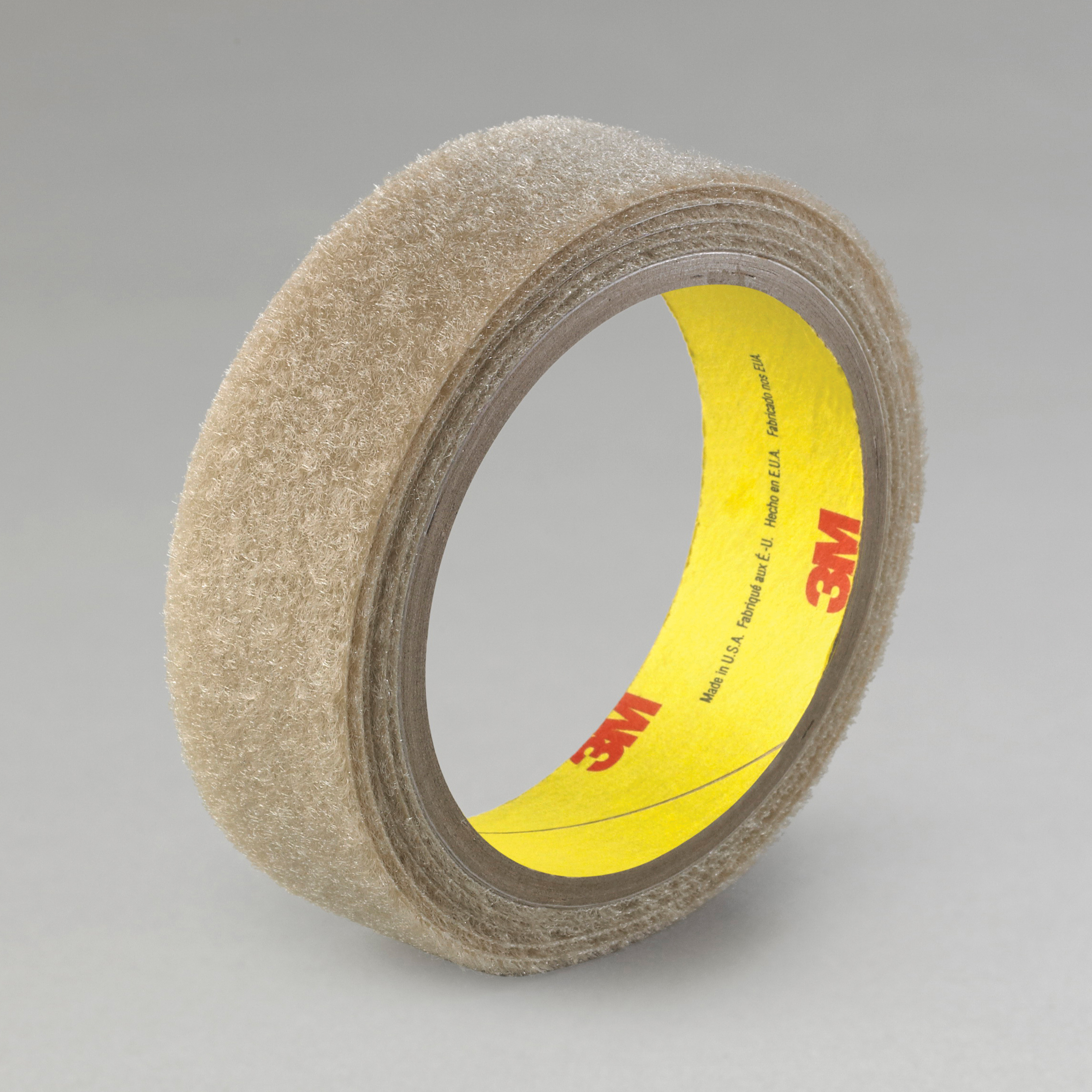 3M™ 021200-86265 Reclosable Loop Fastener Tape, 50 yd L x 1 in W, 0.15 in THK Engaged, Synthetic Rubber Adhesive, Woven Nylon Backing, Beige