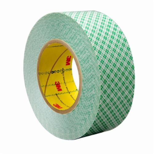 3M™ 021200-23203 Double Coated High Tack Film Tape, 36 yd L x 1/2 in W, 9 mil THK, 760 Synthetic Rubber Adhesive, High Density Polyethylene Backing, White