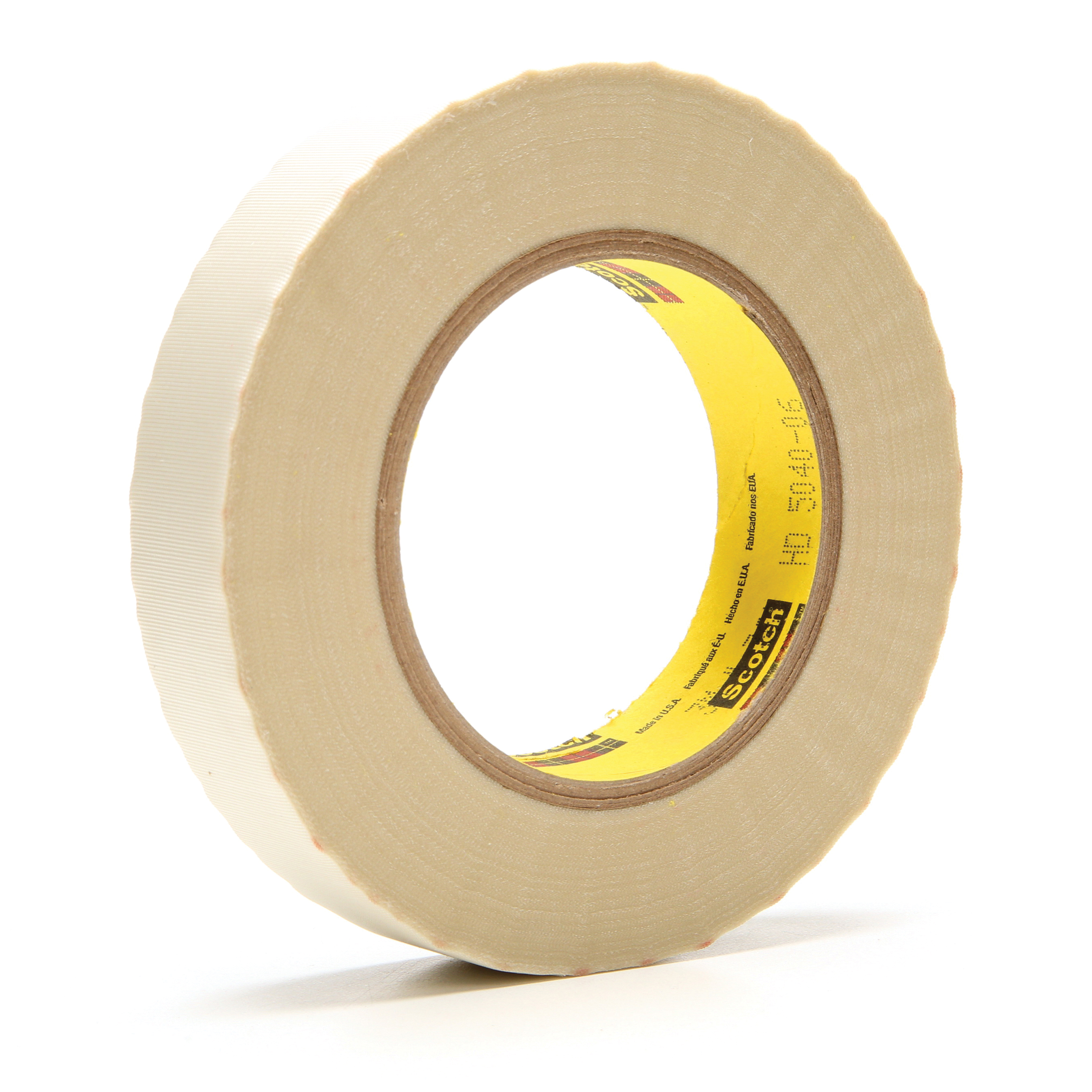 3M™ 021200-23713 Cloth Tape, 60 yd L x 1 in W, 6.4 mil THK, Silicon Adhesive, Glass Cloth Backing, White