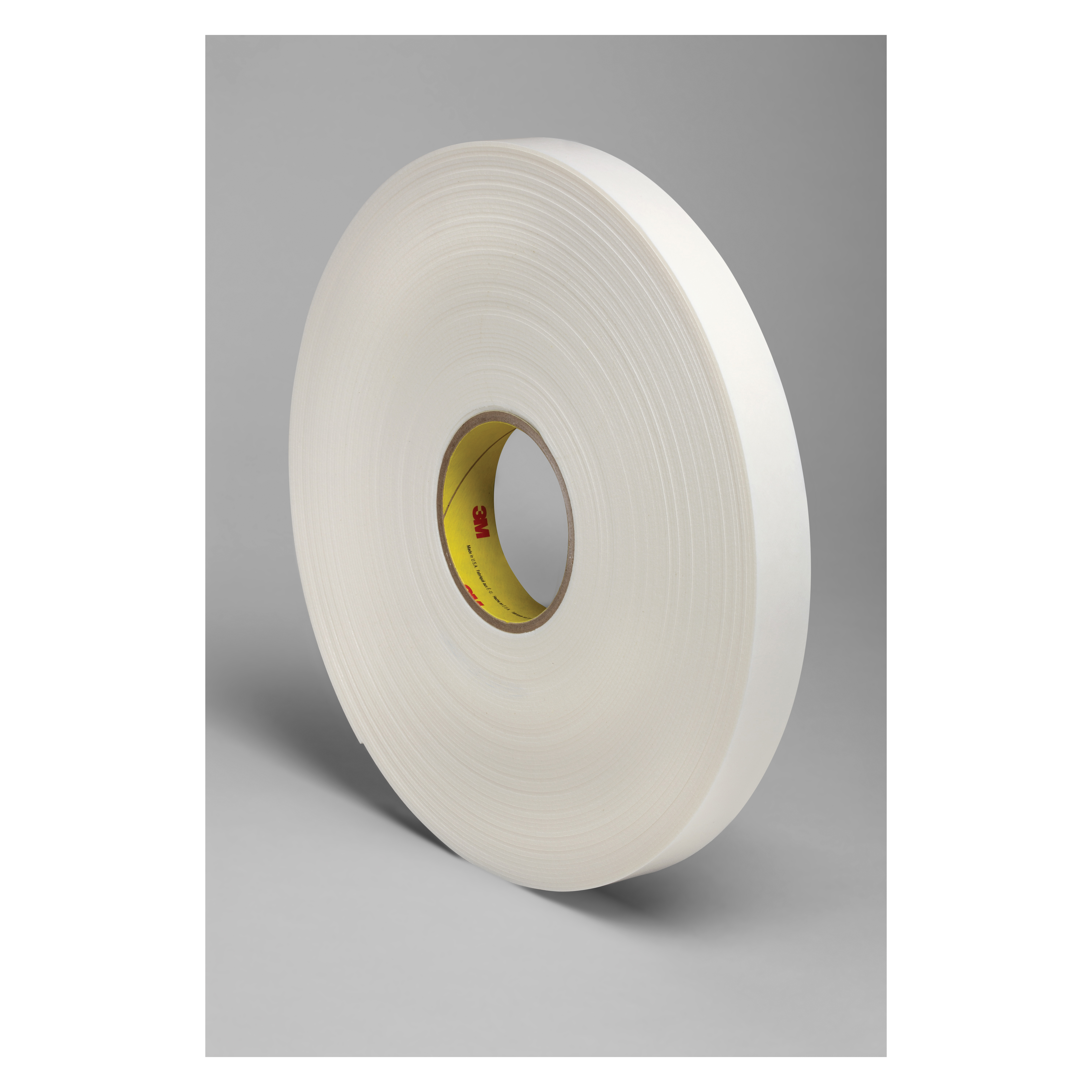 3M™ 021200-24302 Double Coated Tape, 36 yd L x 1 in W, 62 mil THK, Rubber Adhesive, Polyethylene Foam Backing, White