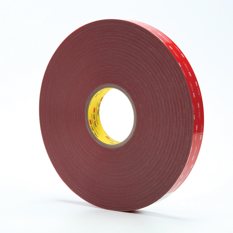 "3M™ VHB™ 4936F(1""x72yd) Pressure Sensitive Double Sided Bonding Tape, 72 yd L x 1 in W, 0.025 in THK, Multi-Purpose Acrylic Adhesive, Acrylic Foam Backing, Gray"