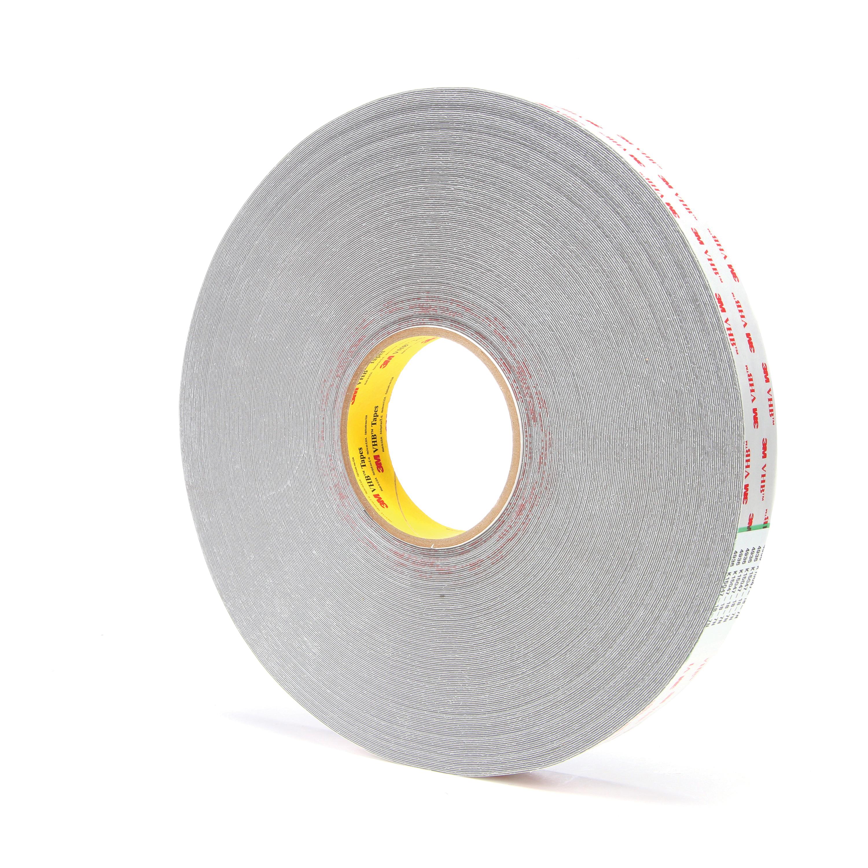 3M™ VHB™ 021200-24383 Pressure Sensitive Double Sided Bonding Tape, 72 yd L x 1 in W, 0.025 in THK, Multi-Purpose Acrylic Adhesive, Acrylic Foam Backing, Gray