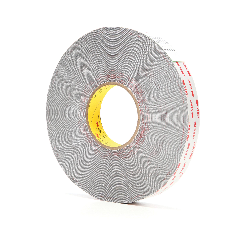 3M™ VHB™ 021200-24386 Pressure Sensitive Double Sided Bonding Tape, 72 yd L x 1 in W, 0.015 in THK, Multi-Purpose Acrylic Adhesive, Acrylic Foam Backing, Gray