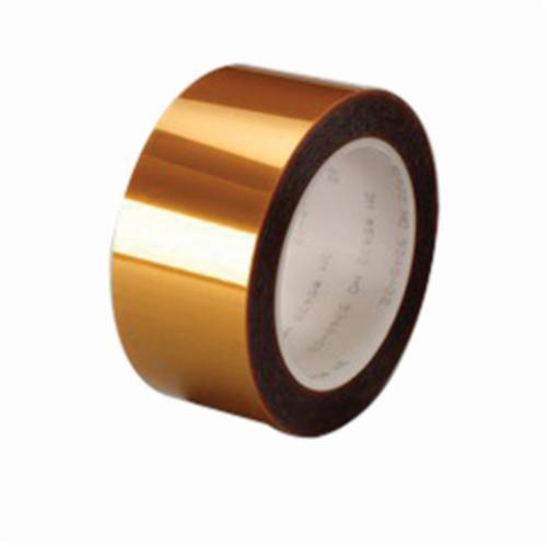 3M™ 021200-24841 Linered Low Static Film Tape, 36 yd L x 1 in W, 2.7 mil THK, Silicone Adhesive, Polyamide Backing, Amber