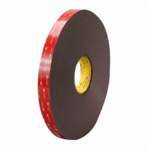 3M™ 021200-30561 Pressure Sensitive Double Sided Bonding Tape, 36 yd L x 1 in W, 62 mil THK, Acrylic Adhesive, Acrylic Foam Backing, Black