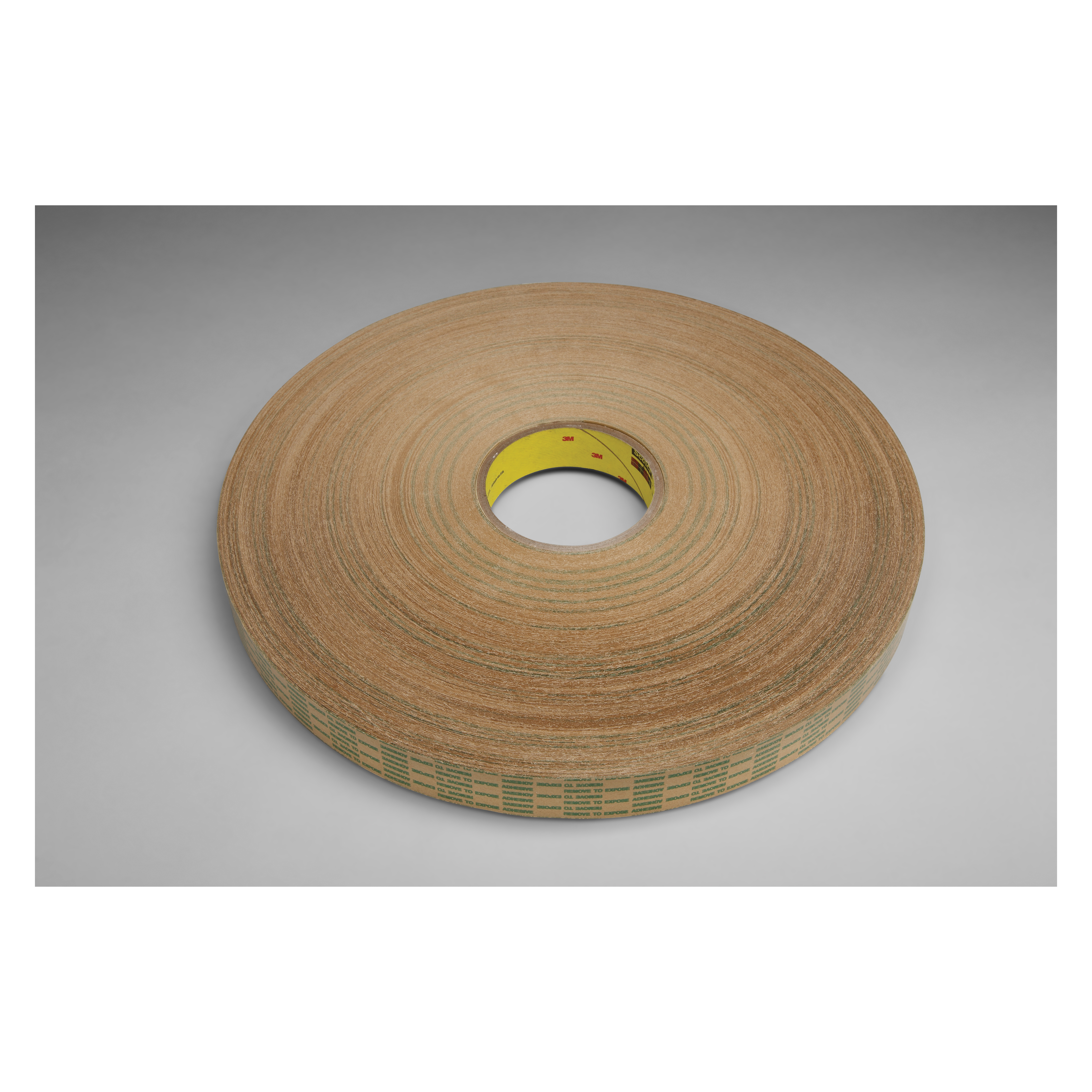 3M™ 021200-26534 Extended Liner Adhesive Transfer Tape, 750 yd L x 1 in W, 1 mil THK, 1 mil 400 Acrylic Adhesive, Foam Backing, Translucent